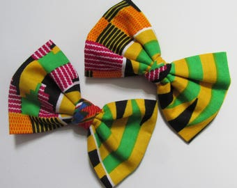 African Afro centric Kente print cotton fabric Africa shoe bow clips