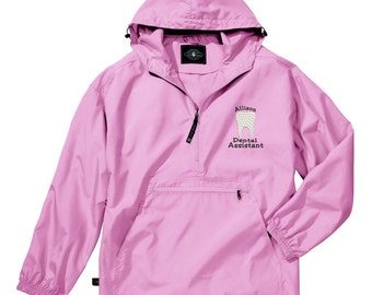 Monogram Dental Assistant  Light Weight Pullover.  Charles River Pack-N-Go Pullover. Personalized Pullover Raincoat. CR: 9904