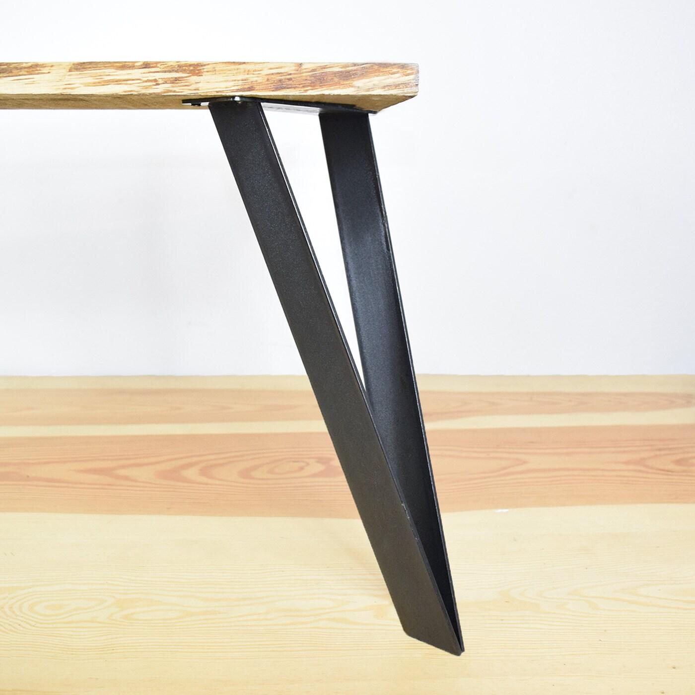 pied de table cavalier en acier plat 40 cm. Black Bedroom Furniture Sets. Home Design Ideas