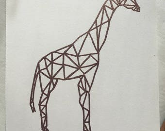 Geometric embossed copper giraffe