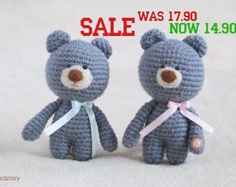 Crochet amigurumi teddy bears - small teddy bear, personalized bear gift, birthday bear, Valentine teddy bear READY TO SHIP