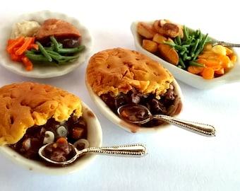 Dolls House Food: Miniature Food - Steak Pie Dinner - Pie + Meal Plates & Vegetables  OOAK