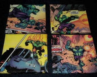 Hulk Boom Dectorative Tile Coasters, Comic Art, Wall Decor