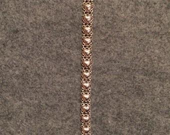 """Heart Filigree Sterling Silver .925 Heart Link Bracelet  7"""""""