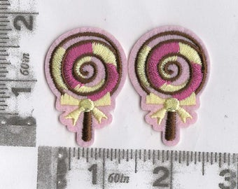 Pair of pink lollipop iron on patches