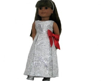 Silver  and White Brocade Holiday Dress with Silver Shoes for 18 Inch Dolls such as American Girl, Our Generation, Madam Alexander