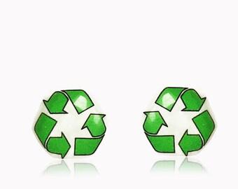 Recycle Symbol Stud Earrings - Recycle Stud Earrings - Eco Earrings - Stud Earrings - 10 mm Hypoallergenic Surgical Steel Stud Earrings