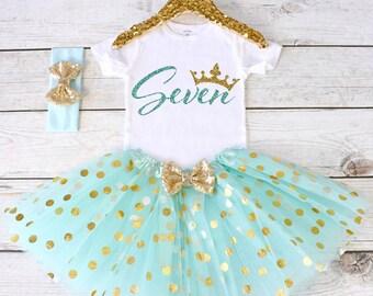 Birthday 7 Outfit. CUSTOM AGE. Girls Birthday Outfit. Tutu Set. Birthday Tutu Outfit. Birthday Outfit Girl. 7th birthday S8 7BD (AQUA)