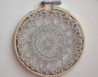FLOWER BURST - Grey Crochet Doily Embroidery Hoop - Grey Crochet Suncatcher - Doily Embroidery Hoop - Metallic Silver - Crochet Suncatcher