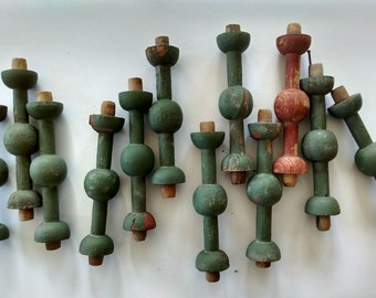 2 Architectural salvage wood spindles, small posts, green spindles