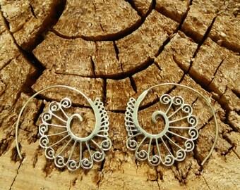 Ethnic Tribal Loop Earrings in Brass