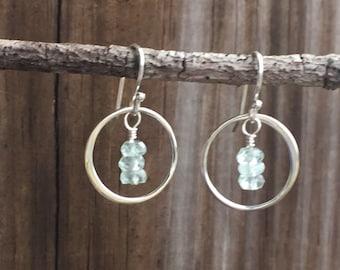 Aquamarine earrings - brides earrings - Sterling silver circle hoop earrings - boho earrings - March birthstone - aquamarine jewelry