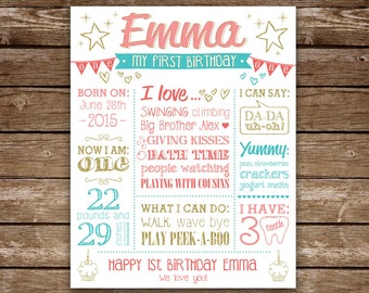 First Birthday Sign,  Baby Girl 1st Birthday Poster, 1st Birthday, Printable Birthday Sign, Baby's Birthday, Custom Colors and Theme