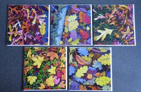 Set of 5 Greetings Cards with Autumn Leaf Designs, from the 'Death of Summer' series of paintings by Bev Jones