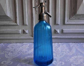 Vintage seltzer soda syphon, stunning French blue glass water bottle, beautiful antique collectable, Paris, Bordeaux, stylish interiors