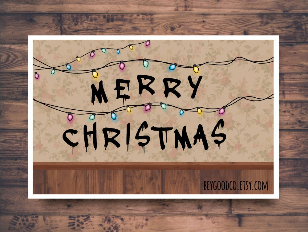 stranger things merry christmas printable christmas card - Stranger Things Christmas Decorations