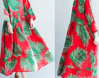 women loose linen dress/women long dress/women comfortable dress/women leisure dress/women red dress/QZ03D14MAR1415