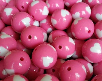 40 pcs 20 mm Chunky Pink with Hearts Bubblegum Beads