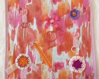 Handmade Pink Tactile Lap Blanket Alzheimers Fidget Quilt Sensory Dementia