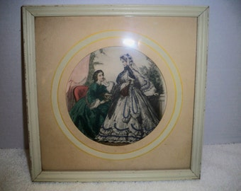 Antique Victorian framed lithograph,Godey's fashion print style