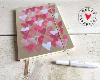 heart note pad, lined, DIN A5