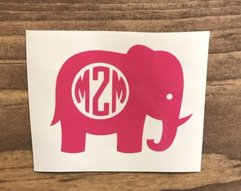 Elephant Monogram Decal, Vinyl Decal, Monogram car decal, Personalized decal, vinyl sticker, yeti decal, car decal, window decal