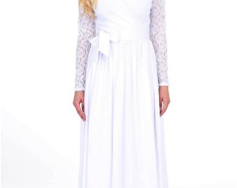 White Ball Gown Wedding Maxi Dress Wrap Neckline Long Lace Sleeves