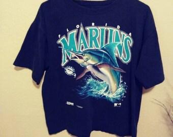 On sale! Mens distressed vintage Florida Marlins MLB t-shirt 1991