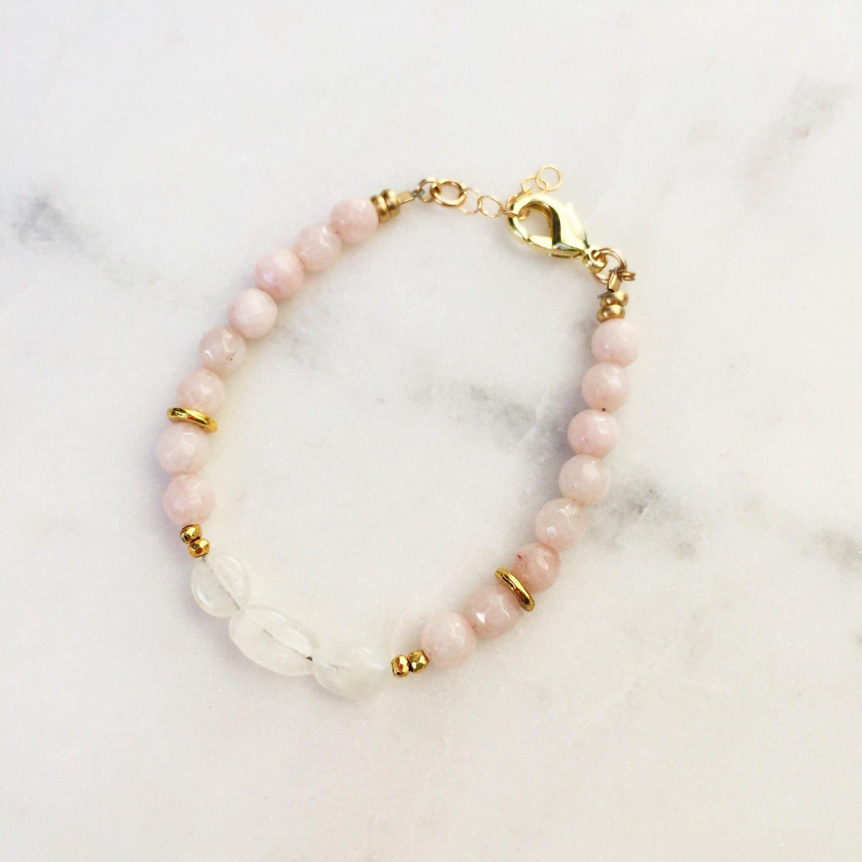 Peach Agate + Moonstone Bracelet | Moonstone Bracelet | Raw Gemstones | Beaded Bracelet |