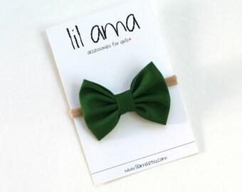 Baby Christmas Headband - Baby First Christmas - Holiday Bow - Christmas Bow - Nylon Headband - Green Headband - Baby Bow Headband
