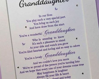 GrandDaughter gift, GrandDaughter Birthday, Grandparents gift ...