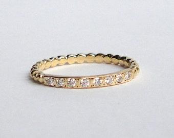 Diamond 14K Yellow Gold Band, Engagement Ring, Wedding Band, Stacking Ring, 14K Yellow Gold