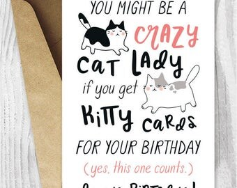 Funny Birthday Cards for Her Instant Download, Crazy Cat Lady Printable Birthday Cards for Friend, For Sister, Funny Cat Birthday Card