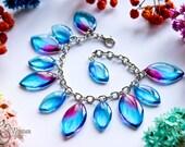 Resin Transparent Bracelet -   Leaves Bracelet  - Print Jewelry - Nature Lovers Jewelry - Eco Style