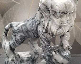 Carved Marble Guardian Asian Lion Statue