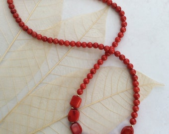 Red  Coral Bead Necklace with 14k  Gold filled beads 19.75 inch