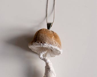 white-brown mushroom pendant,fiberart, soft sculpture,