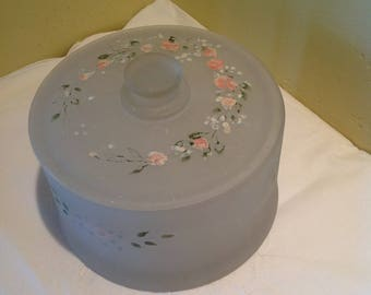 Vintage Powder Jar, Frosted Glass Powder Jar