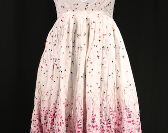 Vintage 1980's Pleated Empire Waist Pink and White Sundress by Ragtime with Lace Detail, Ribbon Trim, Heart Leaf Meadow, Babydoll ILGWU