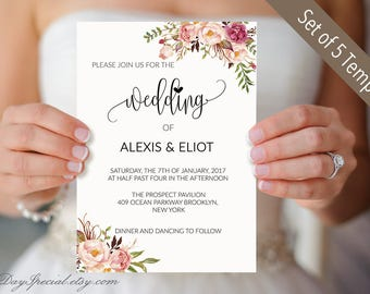 Set of 5 Pink Rose Wedding Invitation Card Templates, Printable Wedding Invites set, Floral Boho Wedding cards, DIY Instant Download  #102