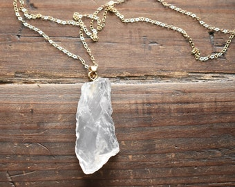 Natural Clear Quartz Crystal Pendant Necklace // Natural Quartz Jewelry // Extra Long Layering Necklace // Dainty Gold // Gifts for Her