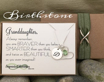 Gifts for GRANDDAUGHTER Birthstone Necklace for Granddaughter Gift Granddaughter Necklace Birthday Gift for her 16th 18th Birthday Gift 20th