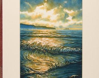 Original Watercolour, Wave edge, Broad Haven. Pembrokeshire beach scenes, seascapes, waves, Sunset paintings. Welsh art, coastal scenes.
