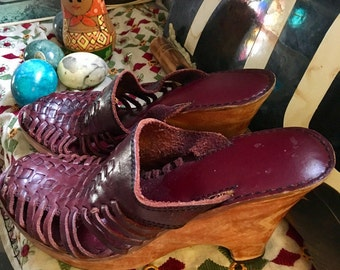 Vintage Wooden Maroon High Heel Clogs Wooden Heel Leather Top Woven Leather Top with padded foot bed Made in Brazil Womens Clog Size 7