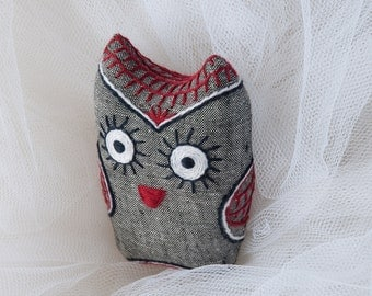 Soft toy owl. Embroidered owl toy. Baby shower gift. Stuffed owl. Handmade owl. Grey bird