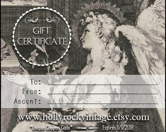 GIFT CERTIFICATE Printable Digital Download Email Choose Your Amount