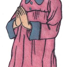 Vintage 1950's Pink Praying Girl Felt Board Applique 3-D Details 5 Inches Long