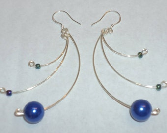 Earrings silver, dangling, earrings decorated with colors and shapes to choose pearls... original gifts