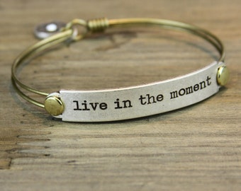 Sweet Romance Live in the moment Bracelet, Inspirational Bracelet, Message Bracelet, Quote Bracelet, Quote Jewelry, Bar Bracelet BR416