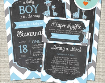 Giraffe Baby Shower Invitation, Giraffe Invitation, Giraffe, Blue, Gray, All Chevron | DIY